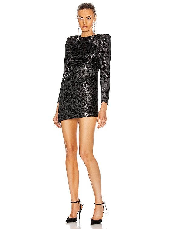 Long Sleeve Mini Dress in Noir Brilliant