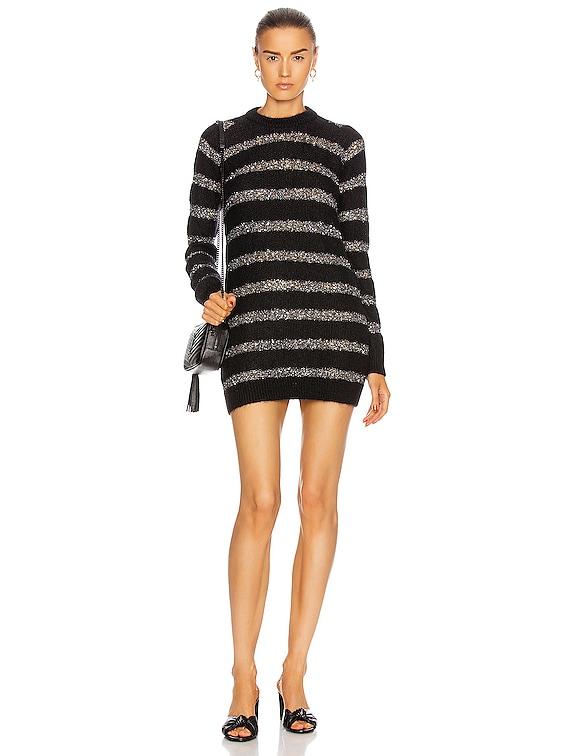 Striped Mini Dress in Noir & Argent