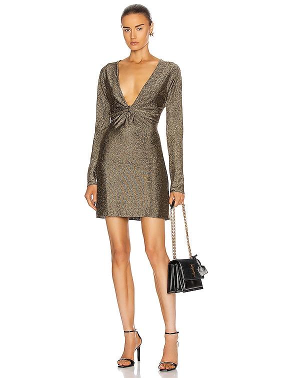 Long Sleeve Mini Dress in Noir & Doree