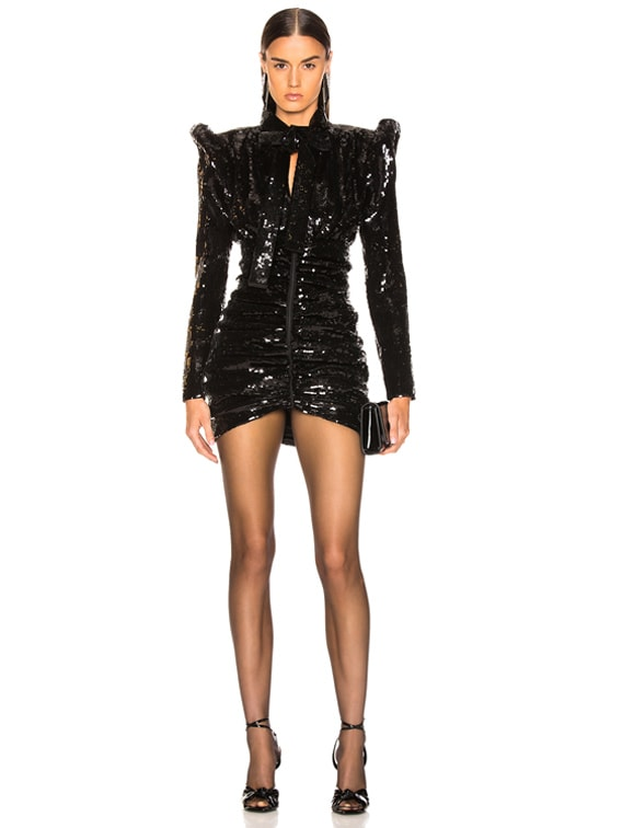 Sequined Puff Sleeve Mini Dress in Black