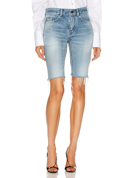 Hem Denim Bermuda Short in Worn Light Blue