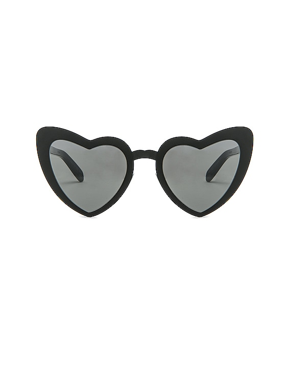 Lou Lou Heart Sunglasses in Black & Silver Flash