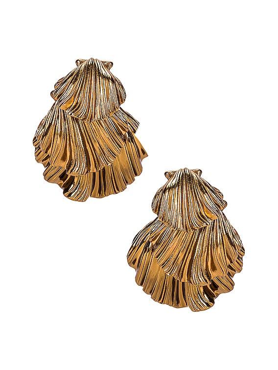 Triple Seashell Earrings in Amber Gold