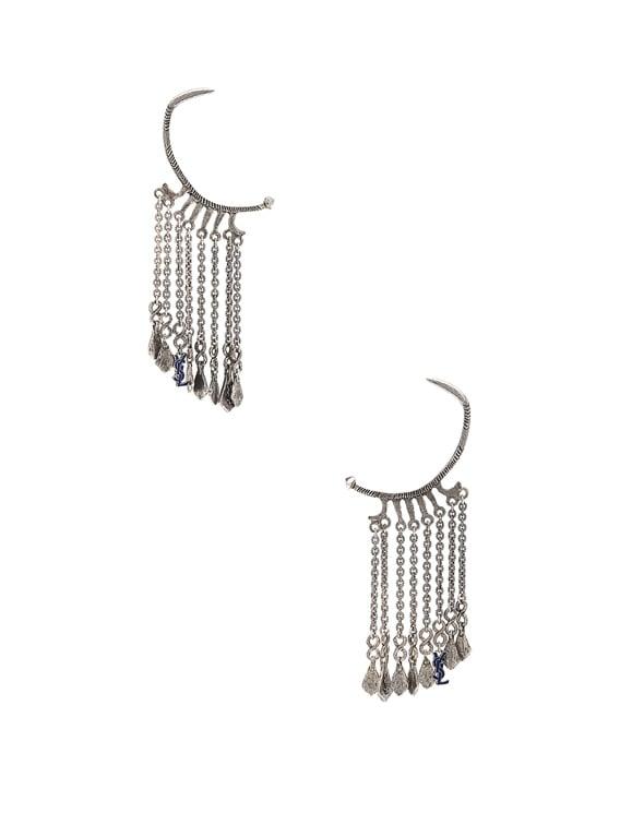 Beaded Drop Hoop Earrings in Oxidized Silver & Cobalt Blue