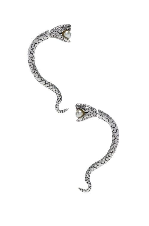 Pearl Snake Earrings in Oxidized Silver & Cream