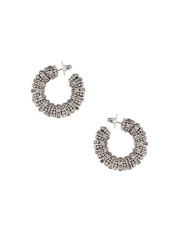 Embellished Hoop Earrings in Palladium & Crystal