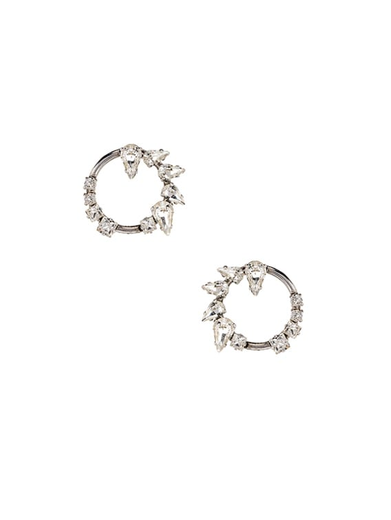 Embellished Earrings in Palladium & Crystal