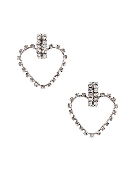 Heart Clip Earrings in Silver & Crystal