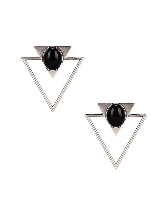 Triangle Earrings in Silver & Black