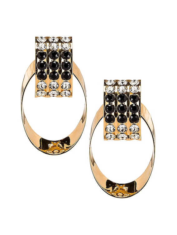 Crystal Oval Earrings in Gold & Black