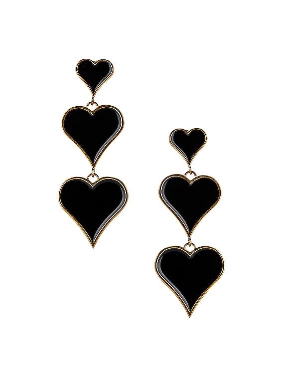 Heart Earrings in Black