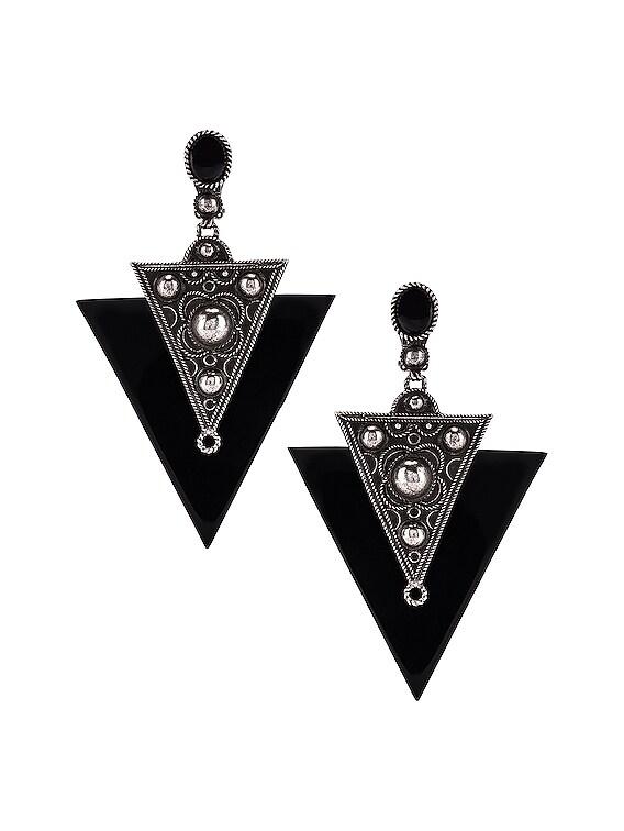 Marrakech Triangle Earrings in Oxidized Silver & Black