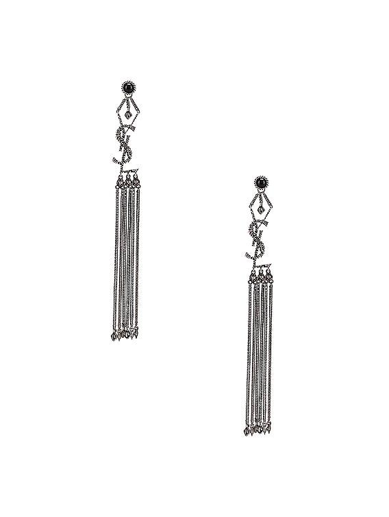 Logo Earrings in Oxidized Silver & Black