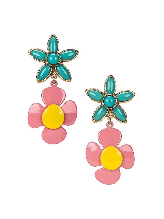 Duo Flower Earrings in Gold & Blue & Yellow