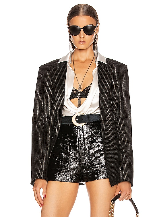 Pinstripe Double Breasted Jacket in Black