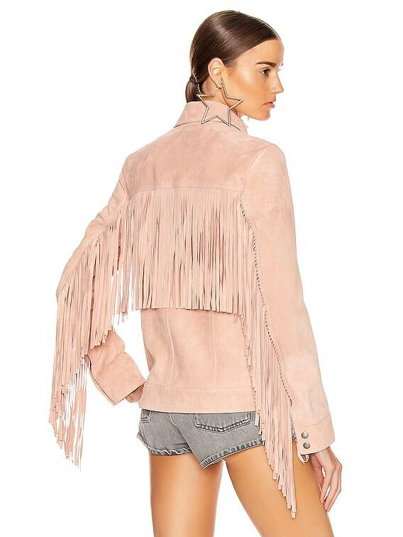 Fringe Jacket in Rose Pale
