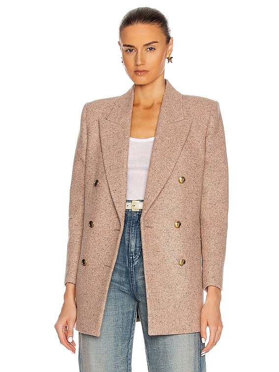 Double Breasted Blazer in Rose Pale