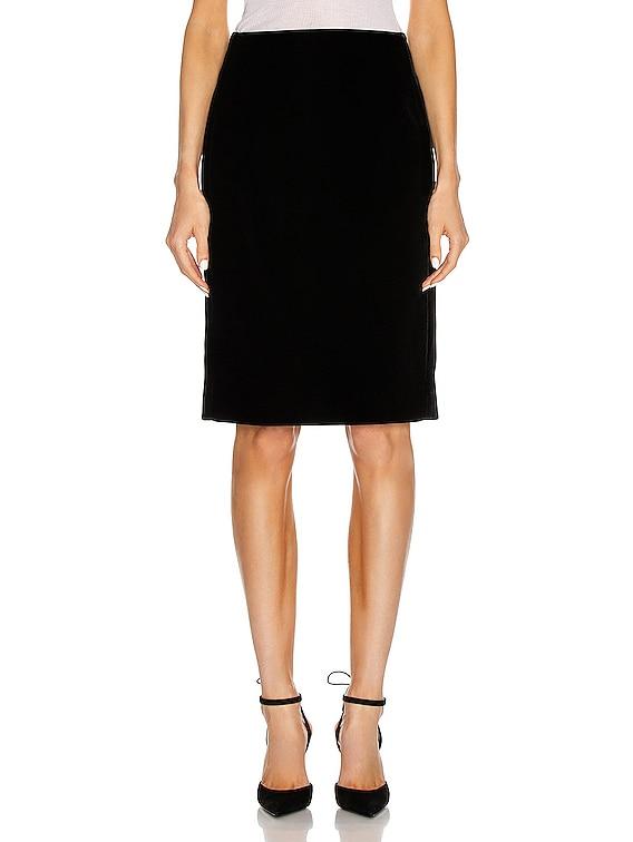 Velvet Long Skirt in Noir
