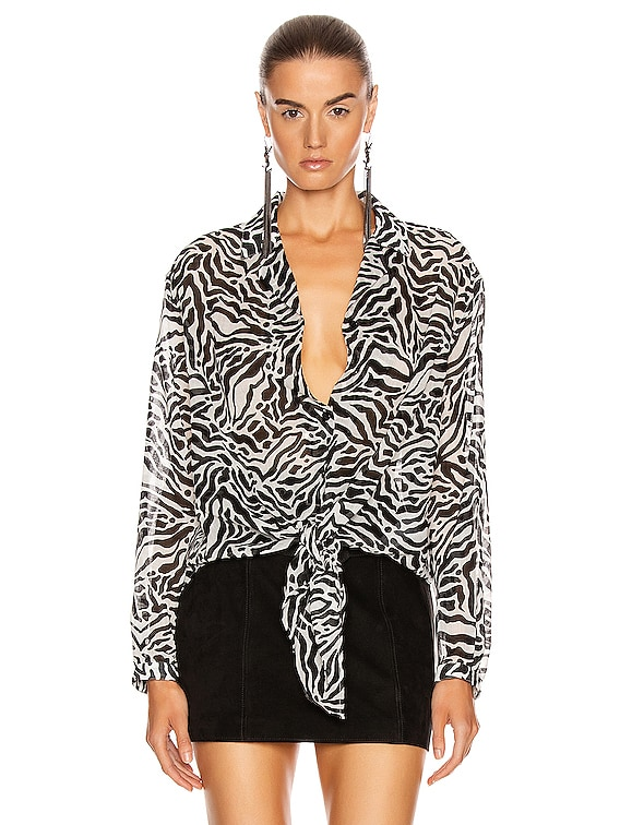 Zebra Long Sleeve Top in Craie Noir