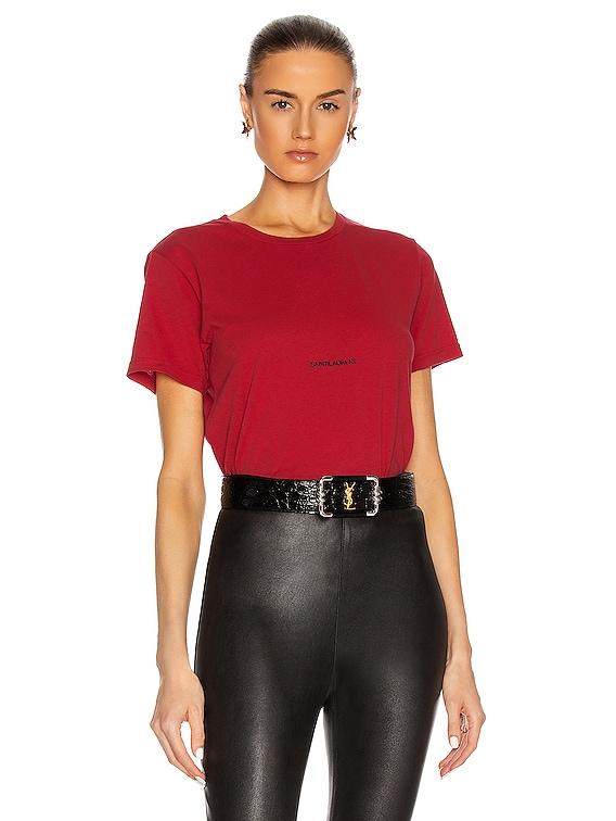 Logo T Shirt in Rouge Carmin & Noir