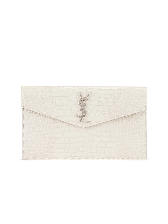 Uptown Medium Embossed Croc Envelope Clutch in Crema Soft