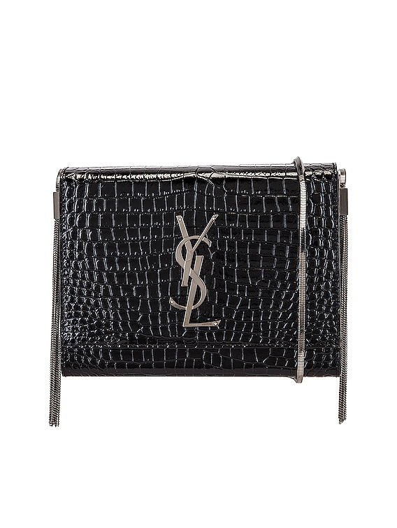 Kate Embossed Croc Boxy Bag in Black
