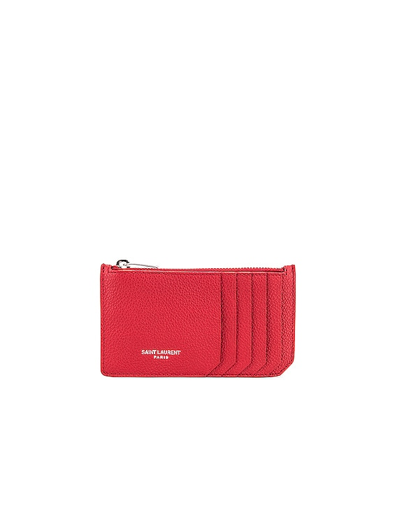 Zipped Fragments Credit Card Case in Rouge Eros