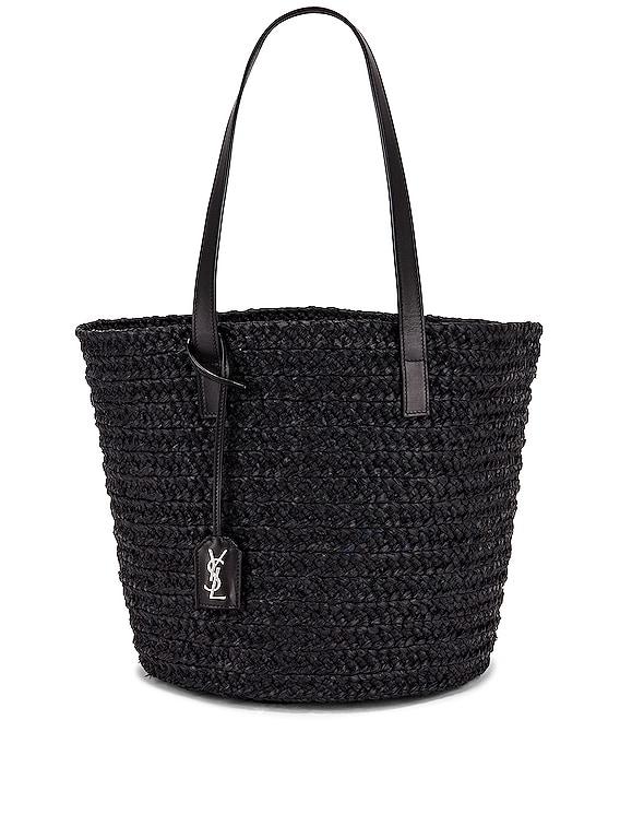 Medium Panier Raffia Bag in Black