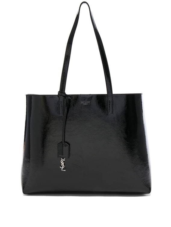 Patent Leather East West Shopping Bag in Black