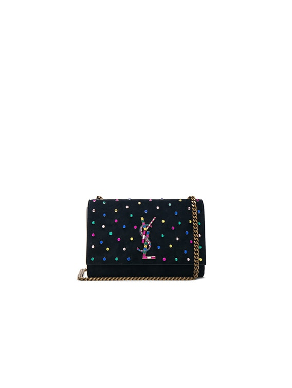 Small Crystal Embellished Suede Monogramme Kate Chain Bag in Black & Multicolor