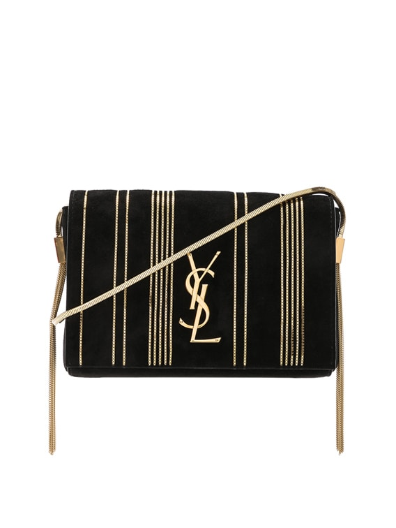 Small Chain Studded Suede Kate Chain Bag in Black & Gold