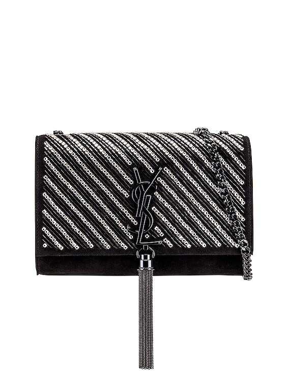 Small Kate Chain Tassel Bag in Black & Crystal