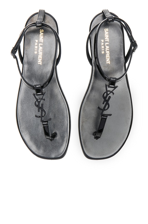 Patent Leather Nu Pieds Sandals in Black