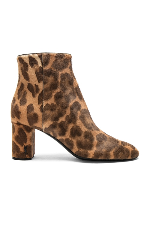 Pony Hair Loulou Pin Boots in Natural Leopard