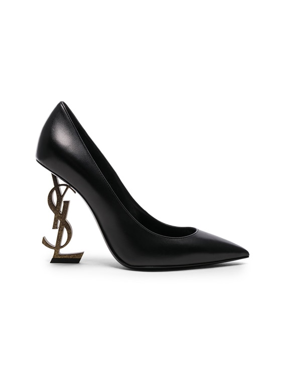 Leather Opium Monogramme Heels in Black & Gold