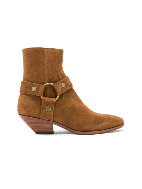 Suede West Strap Ankle Boots in Hazelnut