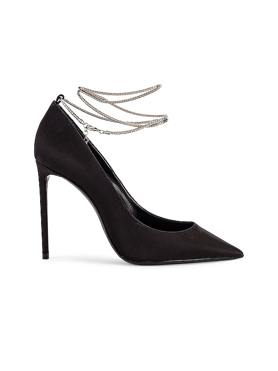 Zoe Ankle Chain Heels in Black