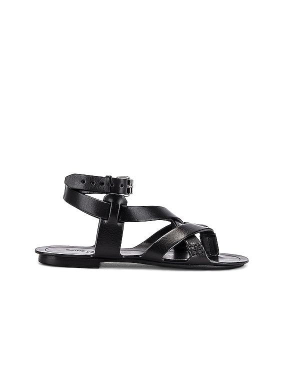 Culver Buckle Sandals in Black