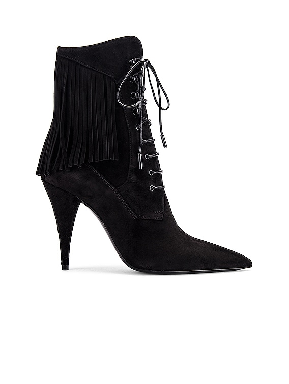 Kiki Lace Up Fringe Ankle Booties in Black
