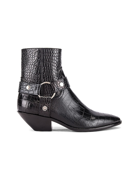 West Strap Zip Ankle Boots in Black