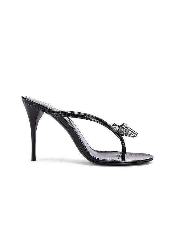 Lexi Swarovski Bow Sandals in Black