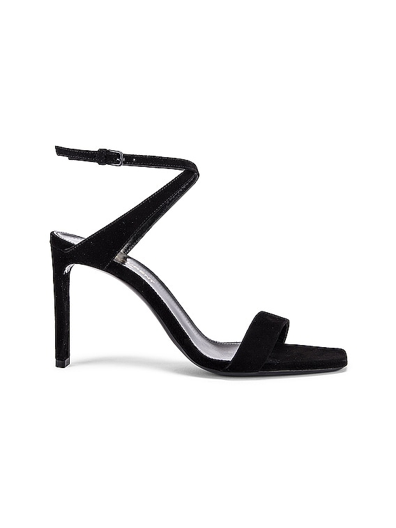 Bea Bow Ankle Strap Sandals in Nero