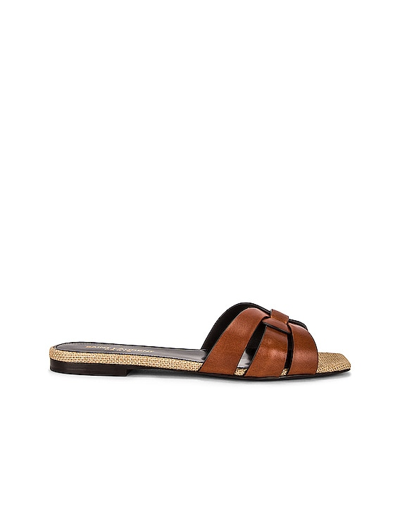 Leather Slides in Amber and Natural