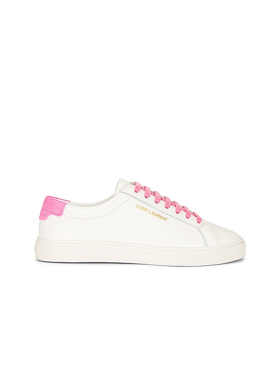 Lace Up Sneakers in White & Pink