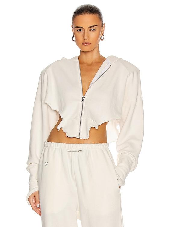 V Cut Zip Up Hoodie in White