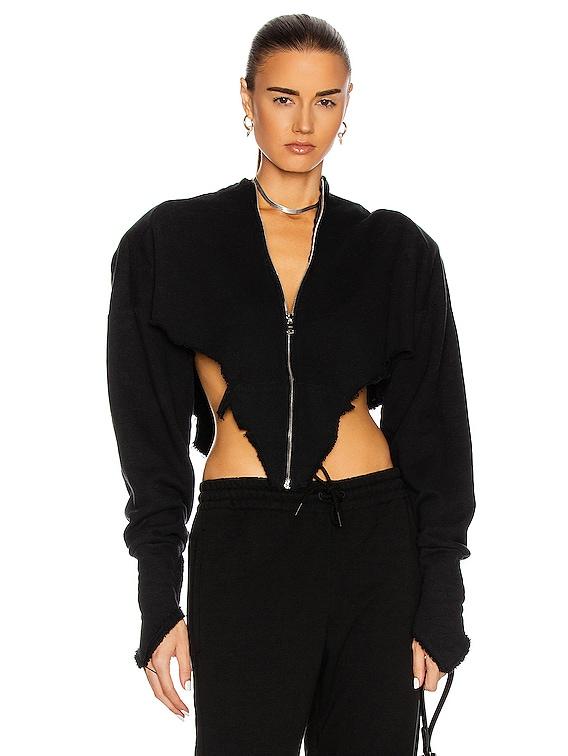 V Cut Zip Up Hoodie in Black