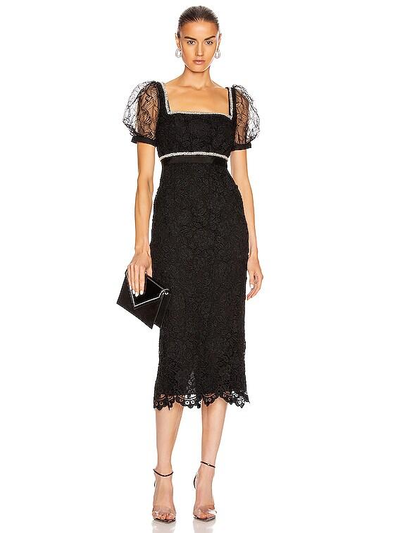 Fine Lace Square Neck Midi Dress in Black