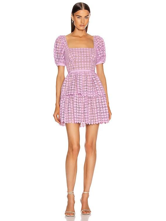 Puff Sleeve Heart Lace Mini Dress in Lilac