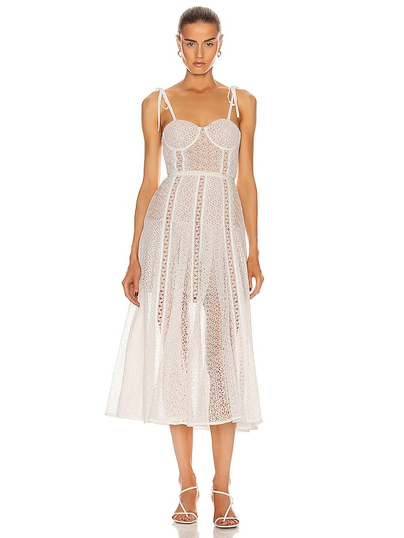 Lace Panel Midi Dress in White