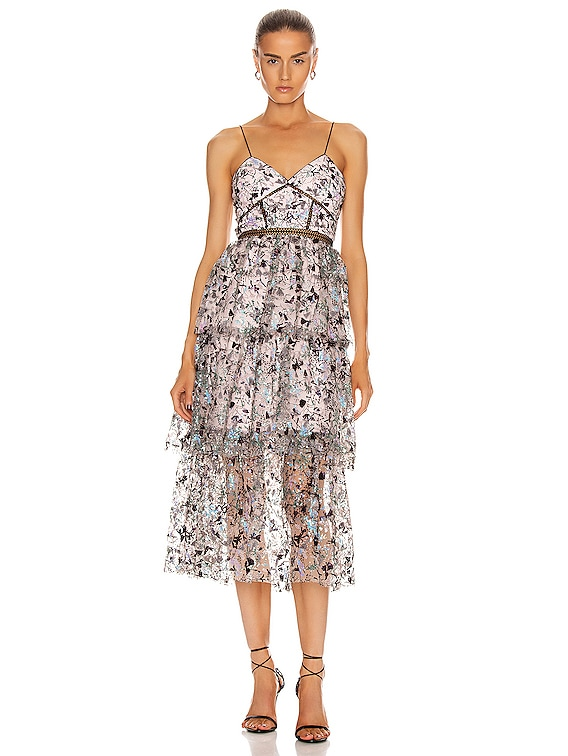 Constellation Tiered Midi Dress in Multi